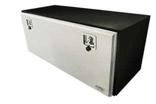 Red Flag Powder Coated Steel tool box with polished stainless steel lid. Part # TB026